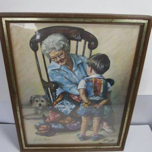 "vintage 15"" x 12"" picture grandma getting flowers"